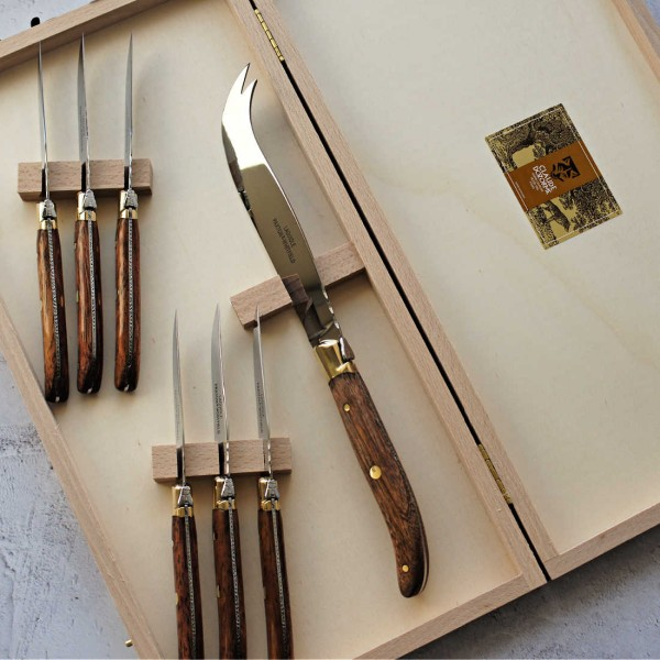 7 Piece Cheese Knife Set Wood